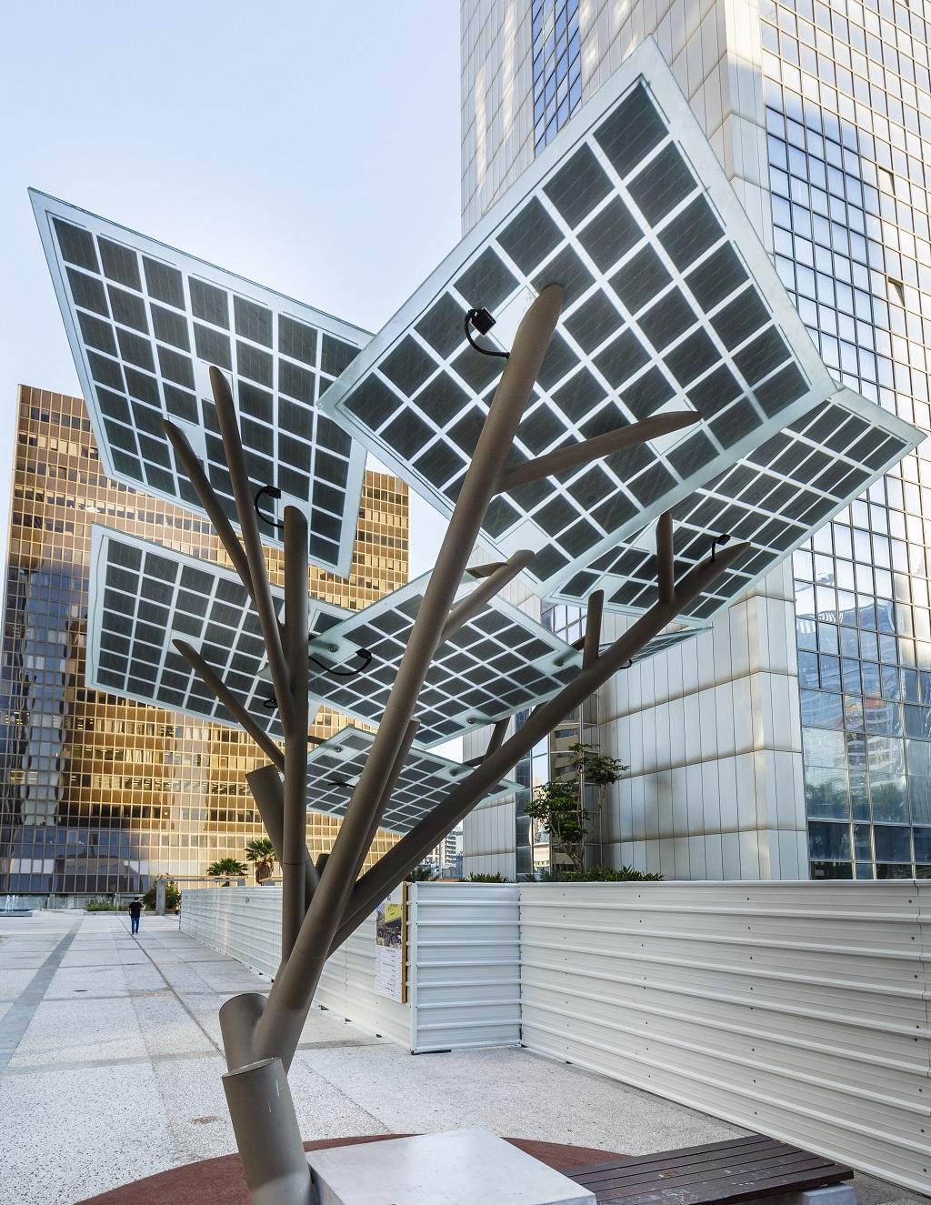 Boom met zonnepanelen