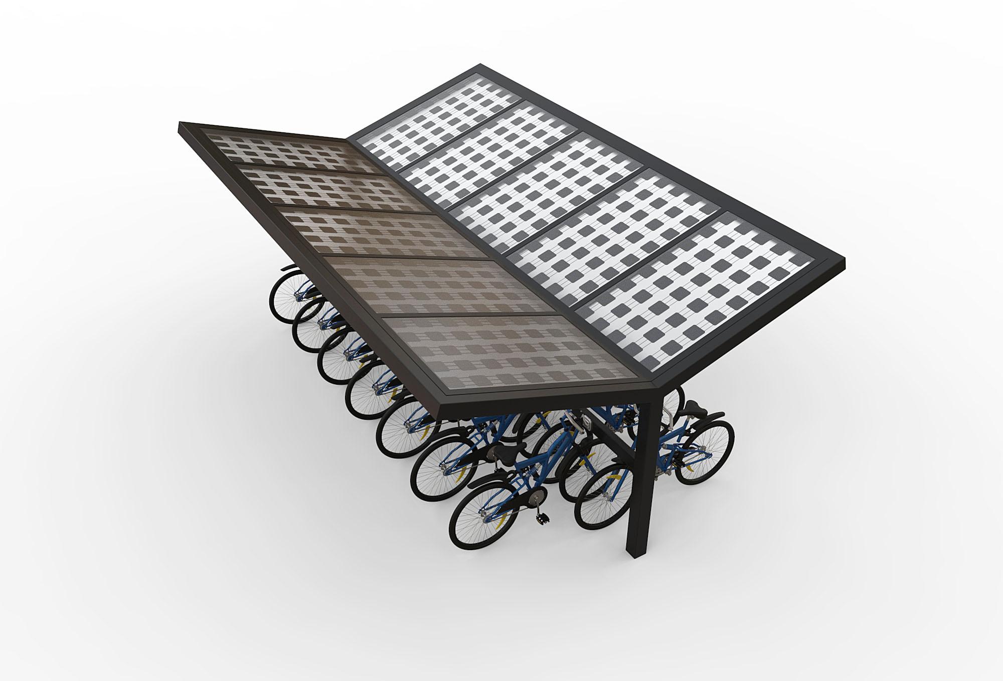 Dubbelzijdige solar fietsenstalling zonnepanelen