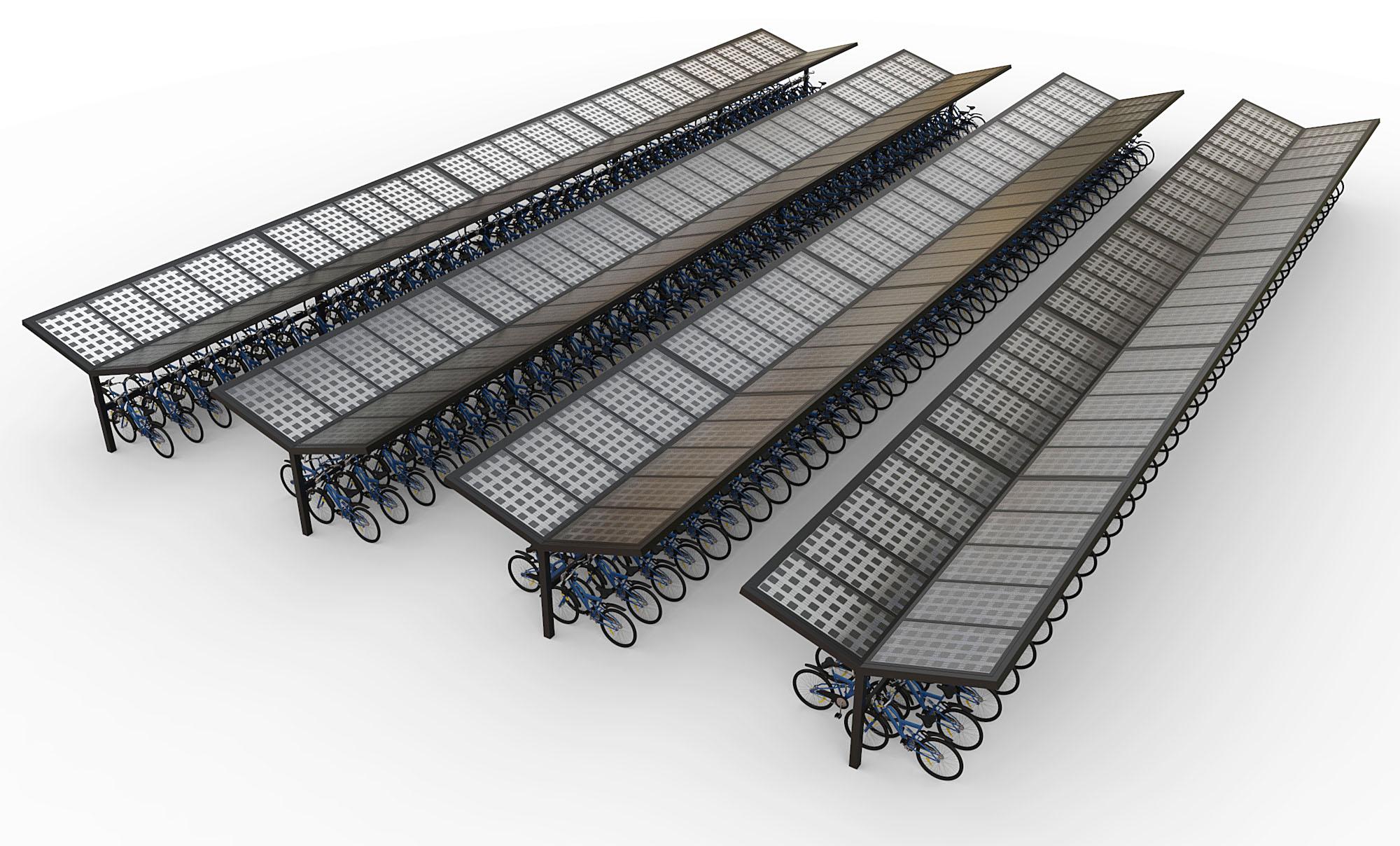 Fietsenstalling pv panelen dak